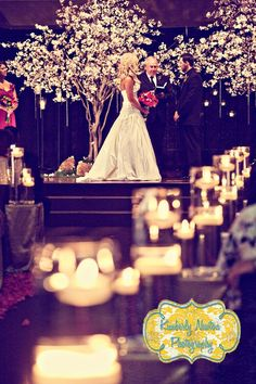 """Ceremony altar: 2 blossom trees, on a stage?  Why I like this: 1. trees are tall, so they'll go over Josh & I 2. Forms a natural """"arch"""" 3. matches blush bridesmaid dresses"""