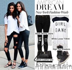 """Street Style at NYFW/B&W"" by helenevlacho on Polyvore"