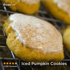 "Iced Pumpkin Cookies | ""These are HEAVEN in your mouth! They are SO GOOD! They taste like pumpkin bread and are so light and fluffy! With the icing on top they are to die for!"""