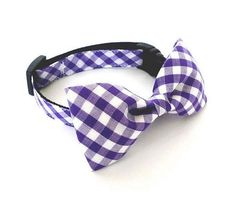 Pet Bow tie Collar -Gingham big Purple-