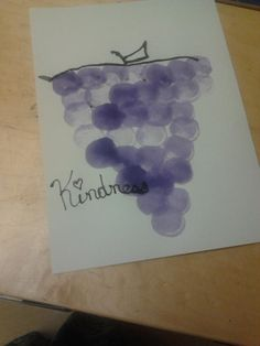 The fruit of spirit craft...You could make it into anything...the color song purple..p u r p l e grapes on a vine..etc... or shapes(circles) etc... we used large marshmallows and the grape scented paint i made...Kids loved it..made my room smell yummy!