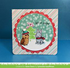 Lawn Fawn - Critters in the Arctic + coordinating dies, Snow Day + coordinating dies, Circle Stackables, Scalloped Circle Stackables, Snow Day 6x6 paper _ card by Lynnette for Lawn Fawn Design Team