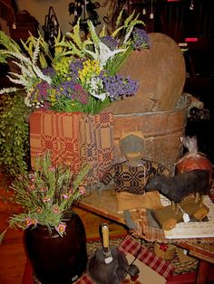 Antique Copper Boiler filled with floral and other goodies