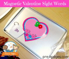 Magnetic Valentine Sight Words for Kindergarten