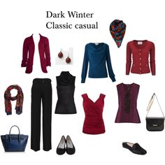 Colour Analysis- Deep Winter, Dark Winter Classic casual, created by indigotones on Polyvore