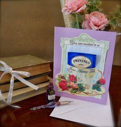 DIY invitation with teabag - Jane Austen tea party