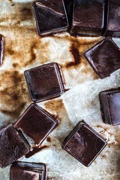 dark chocolate ice cubes