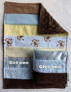 Baby Boy Sensory Security Blanket Lovey - monkey business - Get one Give one to babies in Kenya, $30.00