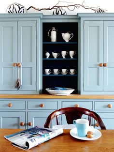 This dresser is painted in the Parma Gray shade from Farrow & Ball house tours, ball, modern country, robin egg blue, cabinet, blue kitchens, kitchen cupboards, parma grey, victorian houses