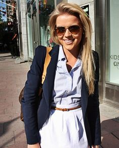chambray + white + navy + brown leather {perfect summer look}