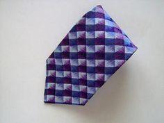 LDB MENS SILK NECK TIE Necktie purple violet gray plaid checks Italy 100% Silk