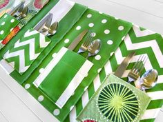 Picnic Placemats with Flatware Pockets