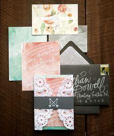 Watercolor + Lace Wedding Invitations