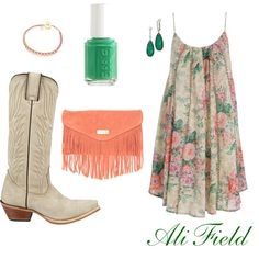 yellow flowers, dresses cowboy boots, cloth, country fashion, outfit, heel, closet, floral dresses, belts