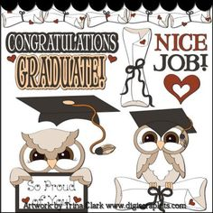 Graduate Owls 1 Clip Art - Original Artwork by Trina Clark