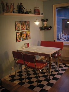 Love the red retro table and chairs, and the black and white checked floor... but like it is only part of floor, have black and white checked in kitchen now and will not do it again!
