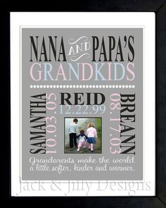 Personalized DIGITAL GRANDPARENT Print with PHOTO  - with Names and Birthdates - Completely Customizable - Christmas Gift - Anniversary Gift. $18.00, via Etsy.