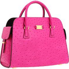 handbag, fashion, purs, style, michael kors, ostrich satchel, gia ostrich, pink, kor gia