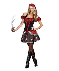 Pirate costume womens only $39.99 on zulily. Featuring a velvet bodice, puff sleeves and an adjustable halter neckline, this outfit also boasts light-up skulls across the hemline.