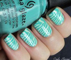 Aqua tiger stripes nail art