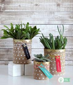 Burlap Succulent Planters by @popperandmimi using @PebblesInc Home+Made collection