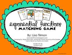 Common Core Standards: F.IF.7e and F.LE.2 This algebra activity focuses on exponential functions. This game requires students to represent exponential functions numerically, algebraically, graphically, and verbally. $priced