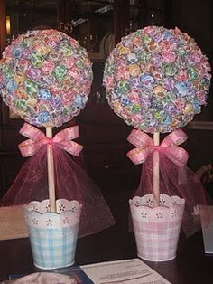 I can TOTALLY make those lollipop trees! I can even add the cellophane  curling ribbon just like we did for John's retirement party