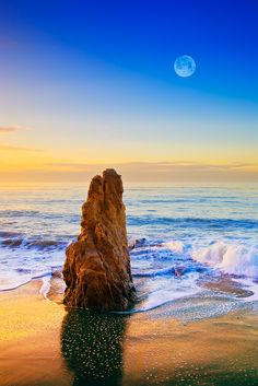 ~~Full Moon Setting Over Malibu Sea Stack ~ California by Greg Clure~~