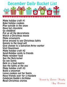 December Daily Bucket List- downloadable. I can't wait to do this with my kiddos. Enjoy!