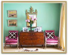 Radiant Orchid Chairs and Hemlock (Seafoam Green) Wall {via Jill Sorensen}