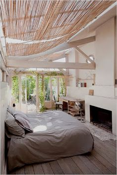 Attach bamboo shades to slanted rods using curtain rings. Then you could pull up the shade or let it down.