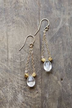 Clear Quartz and 14k Gold Filled Earrings, Modern Geometric Dangling Earrings, Rock Crystal Jewelry