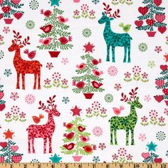 Michael Miller Nordic Holiday Nordic Holiday Multi from @fabricdotcom  Designed by Michael Miller, this cotton print fabric is perfect for quilting, apparel and home décor accents. Colors include red, orange, aqua, green, pink and white.