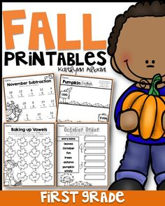 First grade fall printables for math and literacy practice! October, November and Fall Practice bundled up!