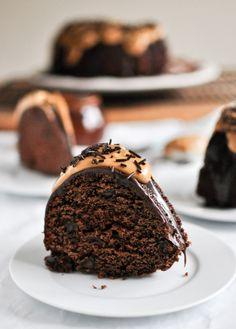 Chocolate Fudge Peanut Butter Cake | howsweeteats.com