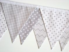 fabric bunting banner | Gray Fabric Banner Bunting Chevron Gingham Polka Dots Nursery Birthday