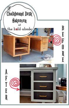 Chalkboard Desk Makeover at The Bold Abode