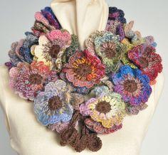Floral Fall  Crochet Multicolor flower Scarf by jennysunny on Etsy, $39.00 crochet flowers, googl search, autumn, colors, victoria secret, scarves, crochet patterns, flower scarf, crochet scarfs