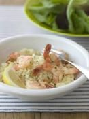 SAUTEED SHRIMP & COUSCOUS: Sauteed shrimp with a side of couscous and baby field green salad  #shrimp #couscous #salad
