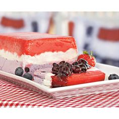 Red, White, and Blue Delight  via familyfun.go.com  #Memorialday #4thofJuly #red #white and #blue #desserts#sweet #treats