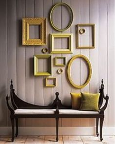 Antique Frames with Color!  Going to do this in the lake house and paint them red for the second bedroom