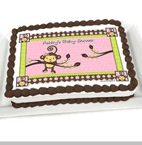 Monkey Girl - Personalized Baby Shower Cake Image Topper ~ Pink Baby Shower Ideas ~