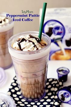 Peppermint Pattie Iced Coffee recipe at TidyMom.net #IDandMe Pin and Win Coffee Moments @InDelight