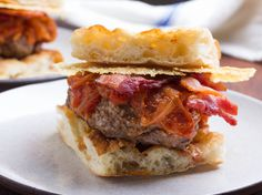 Amatriciana Burgers With Tomato-Onion Jam, Bacon, and Pecorino Romano Crisps burger, serious eat