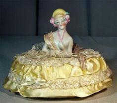Pretty Antique German Porcelain Half Doll Pincussion Lady w Original Dress | eBay