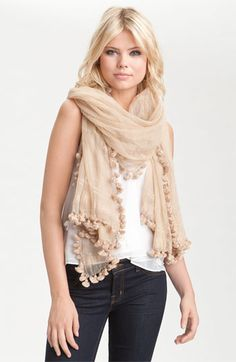 Nude scarf over white shirt w jeans & nude boots