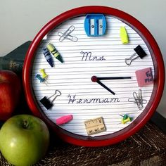 School Teacher Clock -- this adorable clock made with school supplies is the perfect back to school present. Gifts kids can make are much more meaningful to the recipient.