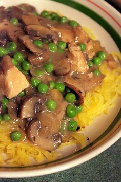 Creamy Chicken & Mushrooms with Peas served on spaghetti Squash