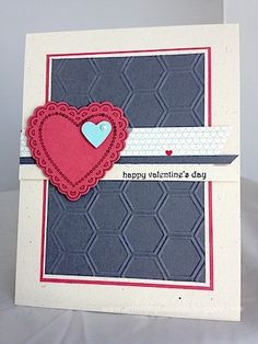 clean and simple handmade Valentine card ... red white and blue ... nice texture from honeycomb embossing folder on the blue panel ...