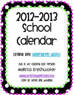Free Calendar for 2012-2013 school year